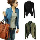 Black Blue Green Womens Stand Collar Double Breasted Jacket Epaulet Blazer BA1U