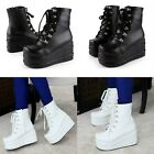 Women's Lace Ups Goth Punk Ankle Boots Pantshoes Wedge Platform High Heels Shoes