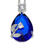 Wedding Jewelry Pear Cut White Gold Plated Pendant Free Chain