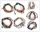 Leather Braided Hemp Surfer Belt Hand-made Tribe charms Bracelet Wristband