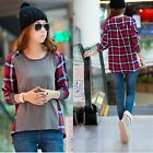 Womens Crew Neck Plaid Stitching Loose Casual Long Sleeved T-shirt Blouse Tops