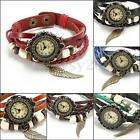 Vintage Flower Wings Weave Wrap Beads Leather Lady Bracelet Quartz Wrist Watch