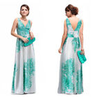 Sexy Print Satin V Neck Long Ladies Winter Evening Formal Prom Dress Gown 09686