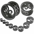 double flared ear tunnels plugs stretcher black PVD Alloy Expanders 2Pcs 9HSG