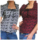 New Womens Ladies Blouse Shirt Top Stretch Cotton Frill Neck 10 12 14 16 18 20