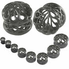 ear stretching kit Black Expanders Plug tunnel Double Flared stretcher 2Pcs 9HSM