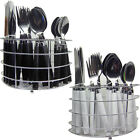 NEW 24PC CUTLERY DINNER SET TEASPOONS TEA SPOONS DRAINER STAND RACK FORKS METAL
