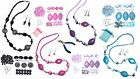 Pink Blue Purple Black Beads Necklace & Earrings Jewellery Making Starter Kit