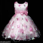 Kids Pinks Princess Easter Wedding Party Flower Girls Dresses SIZE 3-4-5-6-8T