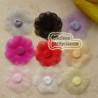 Mixed Organza Flowers 45mm Appliques Sewing Scrapbooking Trim Craft JMOB