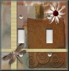 Light Switch Plate Cover - Dragonfly With Flower - Brown - Insect Home Decor