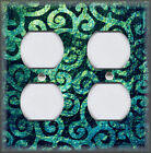 Light Switch Plate Cover - Moroccan Home Decor - Swirls - Teal Boho Decor
