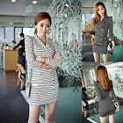 Womens Stripes Long Sleeve Blazer Jacket Coat Outwear Double-breasted Suit Dress