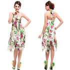 Asymmetric Hem Halter Floral Printed Chiffon Padded V Neck Casual Dress 03477