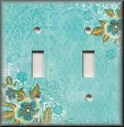 Light Switch Plate Cover - Edged Floral - Turquoise Blue - Flowers Home Decor