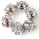 New Copper Rhinestone Charms European Beads Fit Bracelets 14mmx12mm Colors