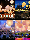 "6"" 8"" 10"" 12"" 16"" 18"" Round Sky Paper Lanterns Wedding + LED Decor Party Light"