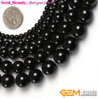 Pretty Round Black Smooth Agate Gemstone Jewelry Making Loose Beads Strand 15'
