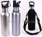 Wide Mouth Stainless Steel 25-Oz/750ml Water Bottle/Insulated Neoprene Case Bag