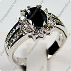 Jewelry Engagement Rings Size 6/7/8/9/10 Womens Black Sapphire 925 Silver Filled