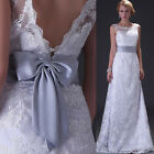 New custom white ivory Lace Wedding Dress Bride gown Size 6 8 10 12 14 16 18 20