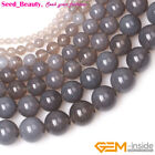 "Round Gray Smooth Agate Gemstone Jewelry Making Beads Loose Strand 15""Size Pick"