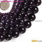 "Natural Round Smooth Amethyst GemstoneJewelryMaking LooseBeadsStrand 15""sd1409-v"