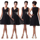 Sexy Black Chiffon Homecoming Bridesmaid Cocktail Evening Dress V-neck Ball Gown