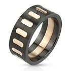 316L Stainless Steel Two Tone Black & Rose Gold Men's Band Ring Size 9-13