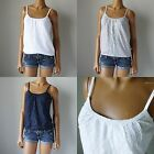 NWT HOLLISTER HCO WMNS WHITE/NAVY/GRAY FLORAL LACE FASHION TOP
