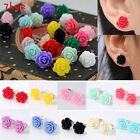 FUNKY VINTAGE 12mm ROSE EARRINGS 10 COLOURS CUTE KITSCH RETRO BOHO CHIC