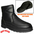 Mens Fleece Lined Ankle Black Chelsea Zip Boots Shoes Uk Sizes 6 7 8 9 10 11 12