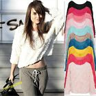 Hot Style Womens 3D Mesh Lace Rose Floral Long Sleeve Jumper Top Sweater