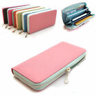New leather women's zip around wallet purse lady single zip wallets