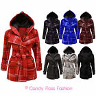 NEW LADIES BELTED BUTTON CHECK COAT WOMENS HOODED JACKET TOP PLUS SIZES 8-20