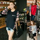 Fashion Women Crew Neck Casual Plaid Check Long Sleeve Loose T-Shirt Top Blouse
