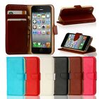 Luxury Leather Flip Wallet Case Cover Pouch For Apple iPhone 4 4S 5 Samsung Note