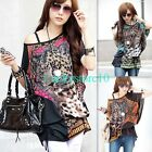 New Casual Women Batwing Animal Tiger Face Lycra Loose T-shirt Blouse Top L XL