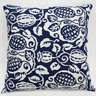 Lf305a White Dark Blue Plant Pure Cotton Canvas Fabric Cushion Cover/Pillow Case