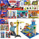 Toy Car Park Police Fire Station Garage Building Crane Die Cast Cars Playmat Set
