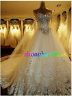 Custom made Ivory/White Tulle Crystal A-Line Strapless Bridal Gown Wedding Dress