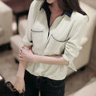 Women Black Lapel Loose Long-sleeved Pocket Ladies Shirt Blouse S M L XL  [HA]