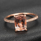 CLAW PRONGS 14K Rose Gold Cushion Cut Morganite H/SI Diamonds Engagement Ring