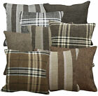 Qa-Match Plain Checker Stripe Linen Cotton Blend Cushion Cover/Pillow Case Size