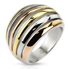 316L Stainless Steel Tri-Color Shrimp Pattern Ring Size 6-10