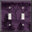 Light Switch Plate Cover - Silhouette Forest Trees - Purple - Rustic Home Decor