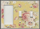 Metal Light Switch Plate Cover Cabbage Roses Pink Yellow Floral Home Decor