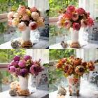 1 Bouquet Artificial Peony Silk Flowers Green Leaf Home Wedding Party Decoration