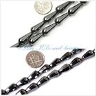 jewelry making drop black jet smooth & faceted hematite beads strand 15""