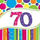 70th Birthday Napkins Balloons Invitations Banner Plates Cupcake Stand Cases etc